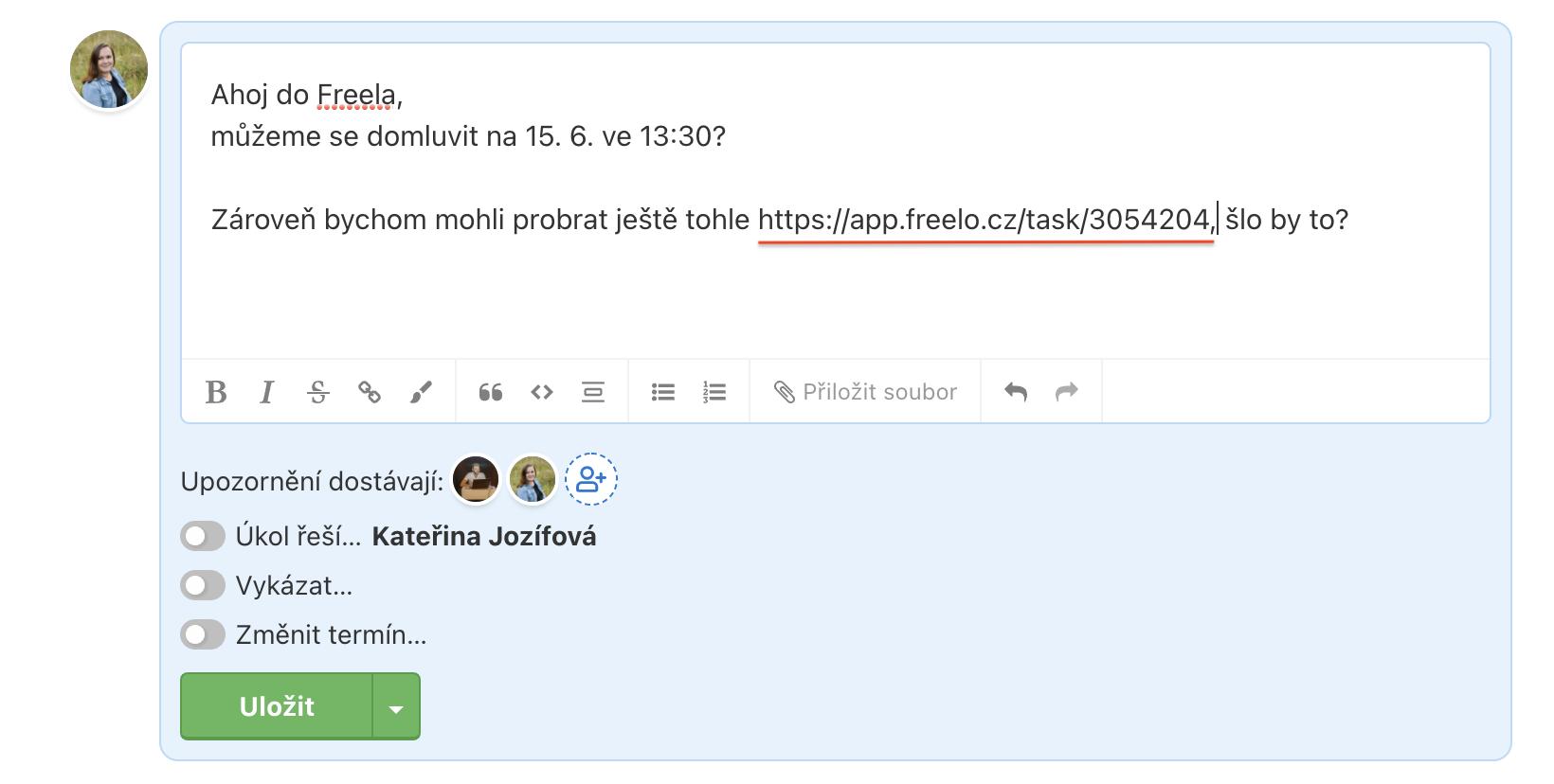 Ukázka rozepsaného komentáře s interním odkazem na jiný úkol ve Freelu.