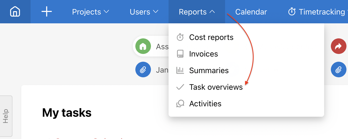Go to section Reports and Task overviews.