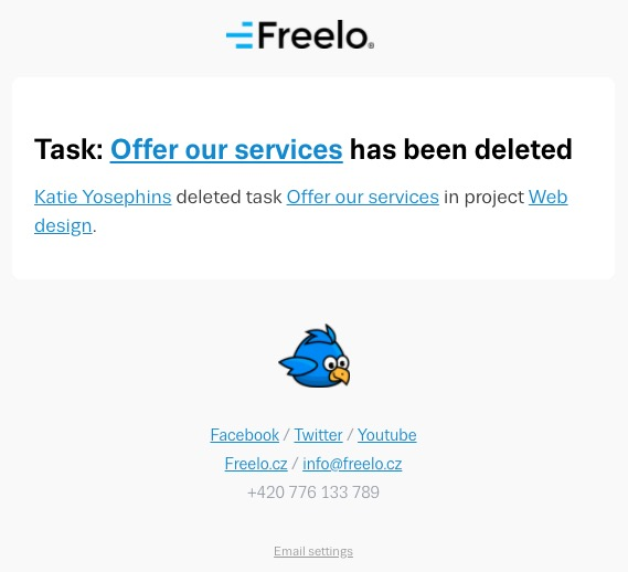 E-mail notification about deleted task.