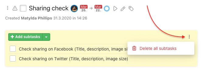 How to delete subtasks in bulk.
