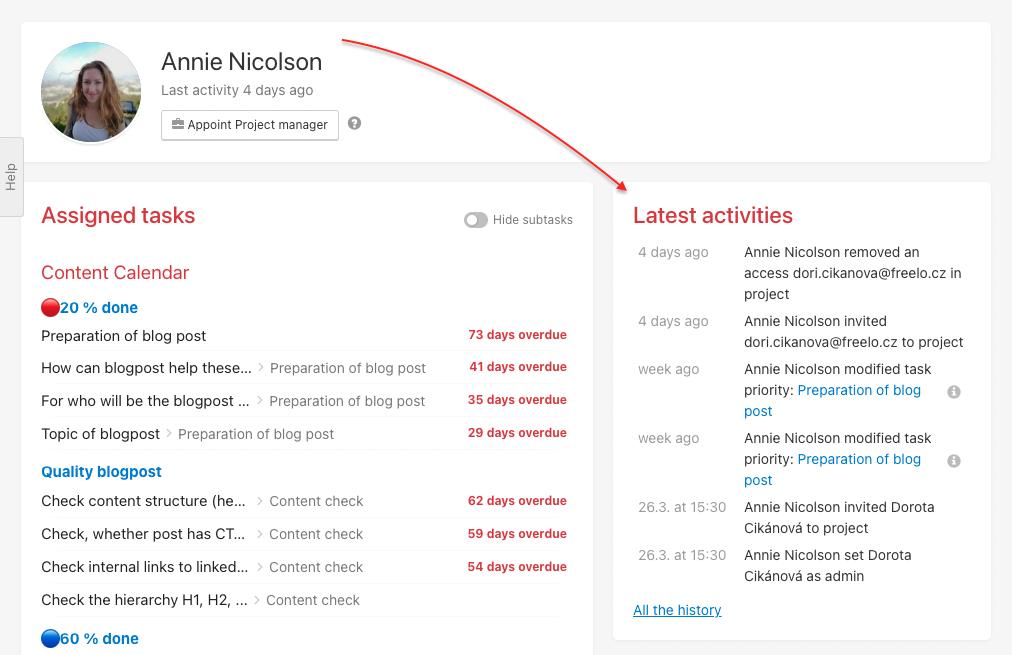 Check user's activities via Latest activities.