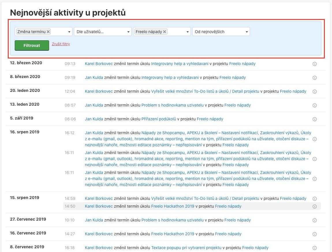 Ukázka filtrování změny termínu na daném projektu.