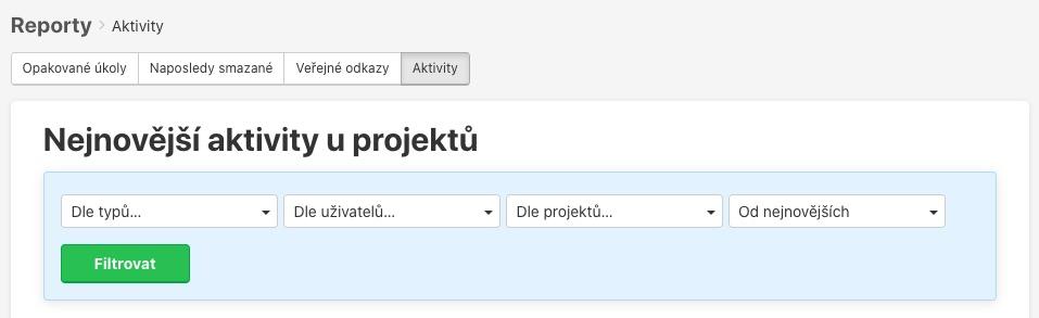 Jak filtrovat nejnovější aktivity u projektů.