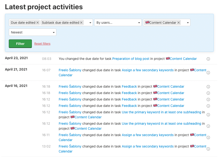 Example of tasks with edited due date in project Content Calendar.