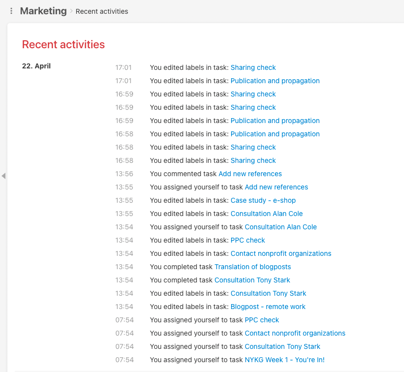 Recent activities in project Marketing.