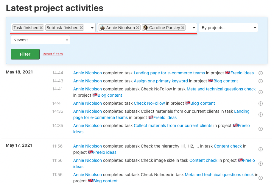 Example of filter for completed tasks and subtasks.