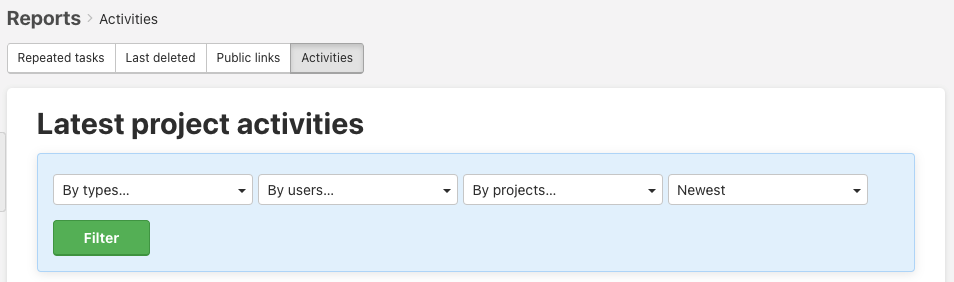 How to filter the lates project activities.