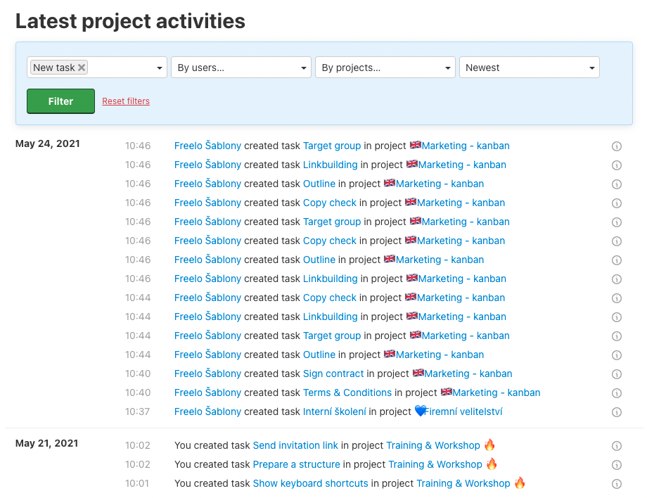 Example of filter for all new tasks in Freelo.