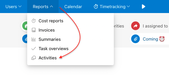 Find overview of activities in Reports.