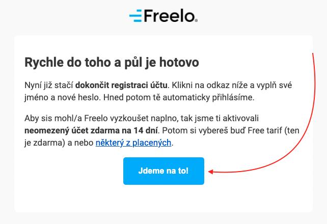 Potvrzení registrace do Freela.