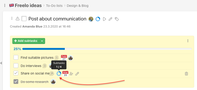 Task detail with list of smart subtasks. Subtask Share on social media has another checklist.
