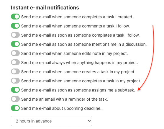 Go to a section Instant e-mail notifications and turn on the alert.