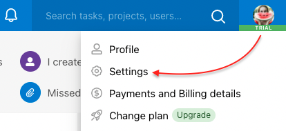 Go to section Settings via your avatar.