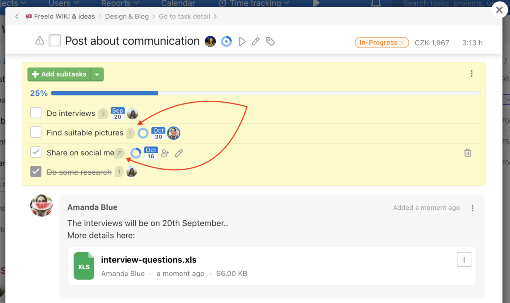 Example how to open modal window of subtasks.