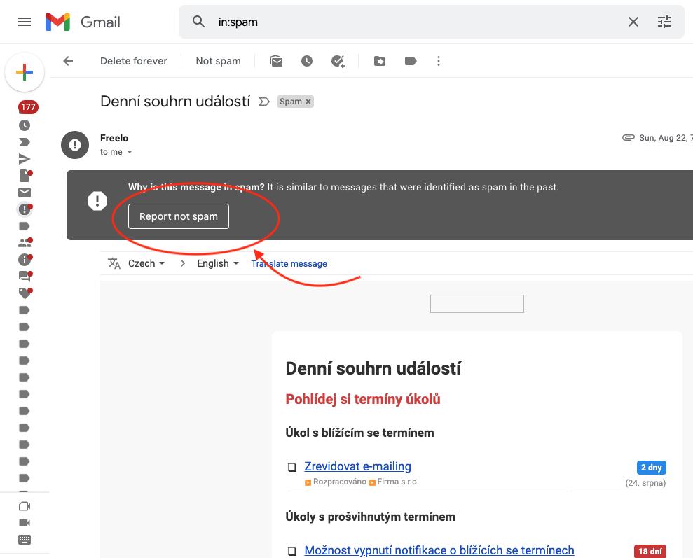 Ve složce spamu označte zprávu od Freela jako vyžádanou – není spam.