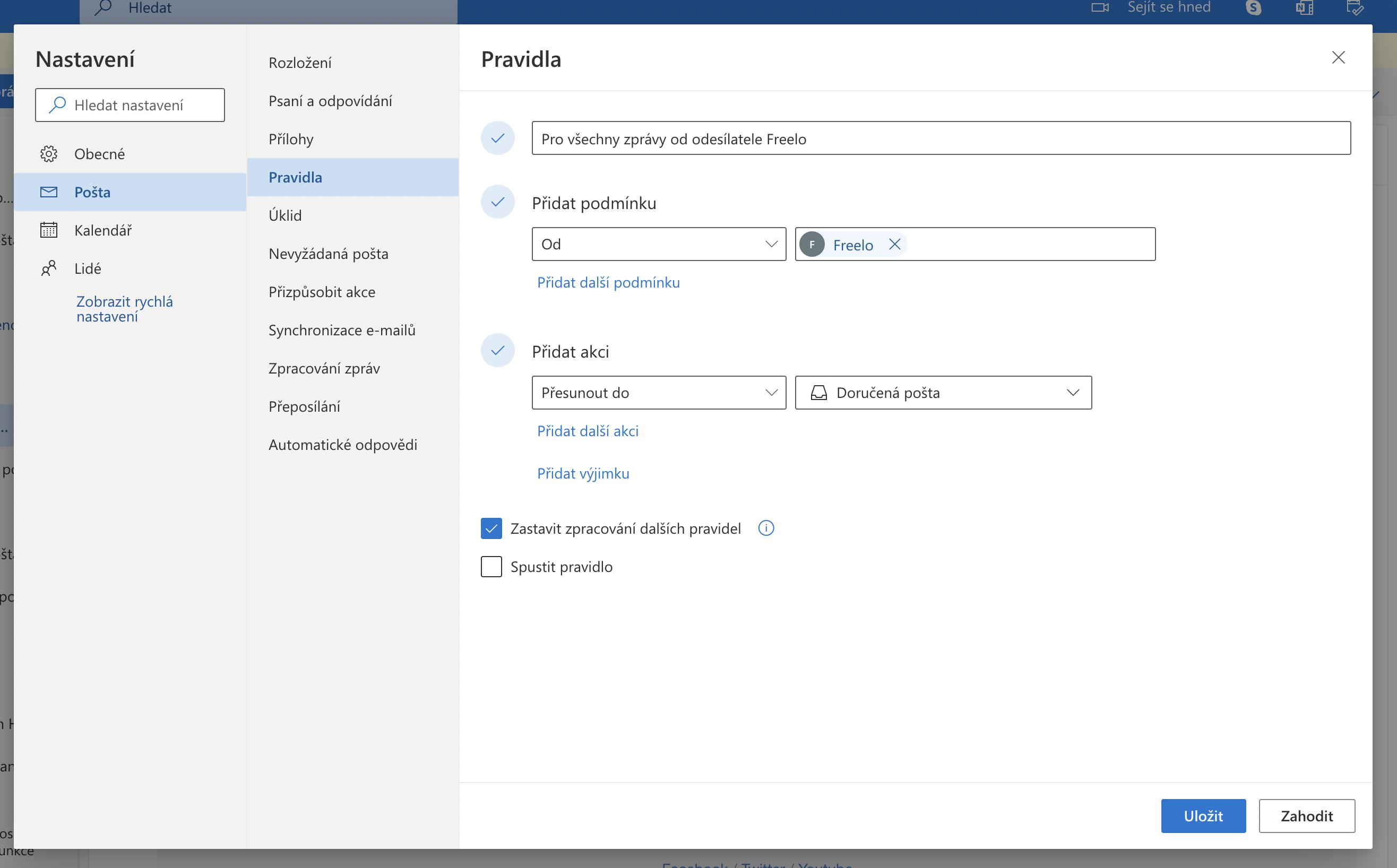 Ukázka, jak nastavit pravidla v Outlooku.