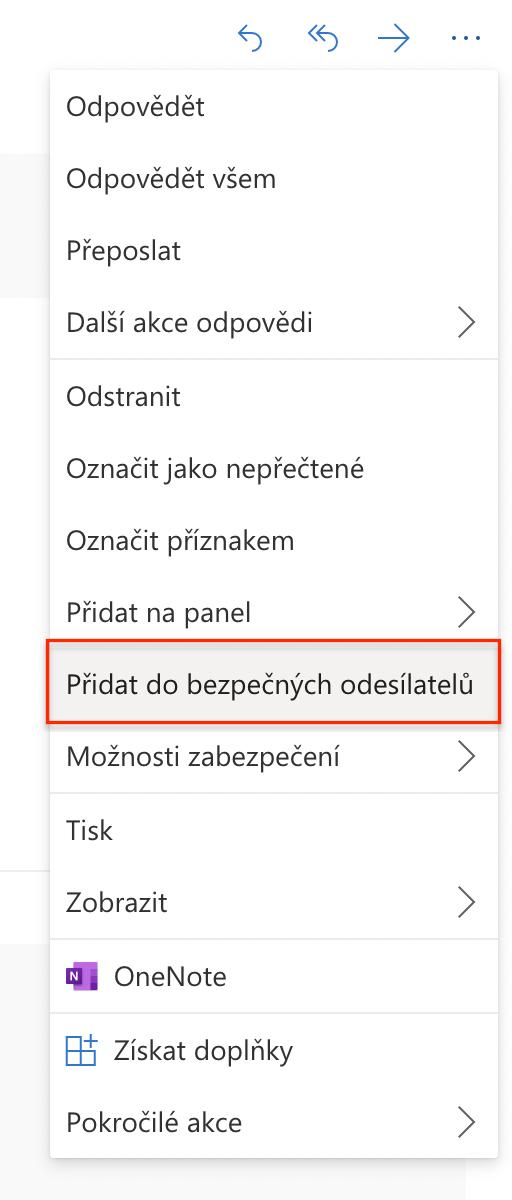 Jak přidat e-mail do bezpečných odesílatelů v Outlooku.